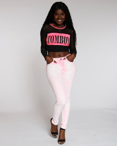 Pink Neon Spray Wash Skinny Jean
