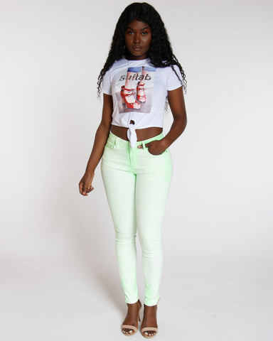 Green Neon Spray Wash Skinny Jean