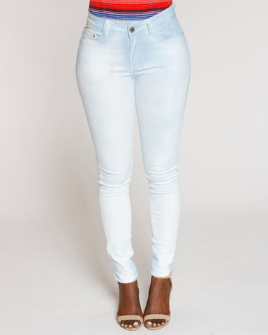 Blue Neon Spray Wash Skinny Jean