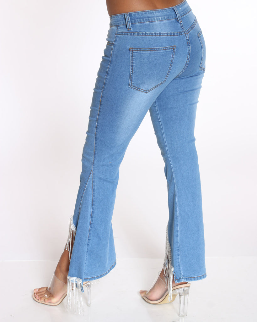 Rhinestone Trim Bell Bottom Jean - Blue