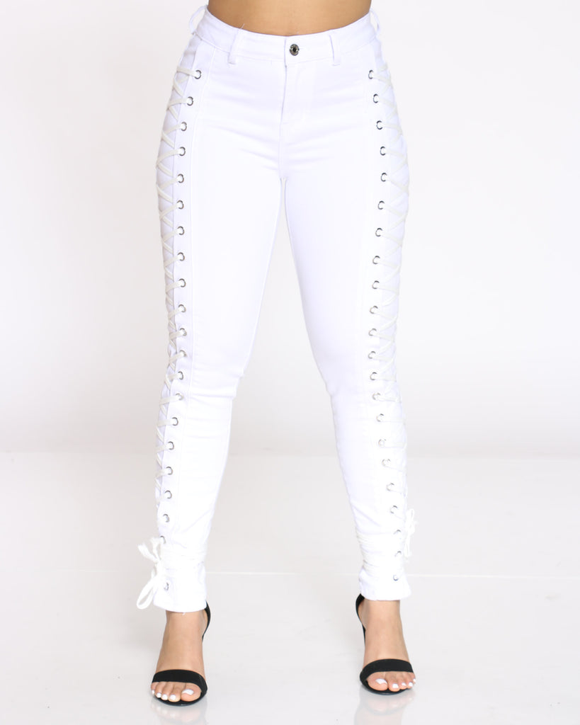 Courtney Side Lace Up Jean - White