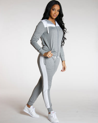 Grey YUMMY SIDE STRIPE JOGGER