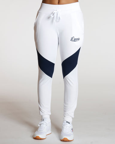 White Color Block Love Jogger