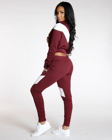 Burgundy COLOR BLOCK LOVE JOGGER