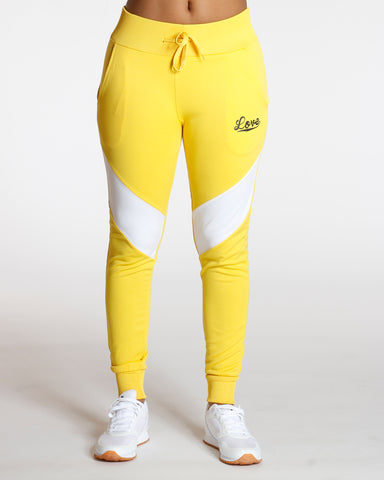 Yellow Color Block Love Jogger