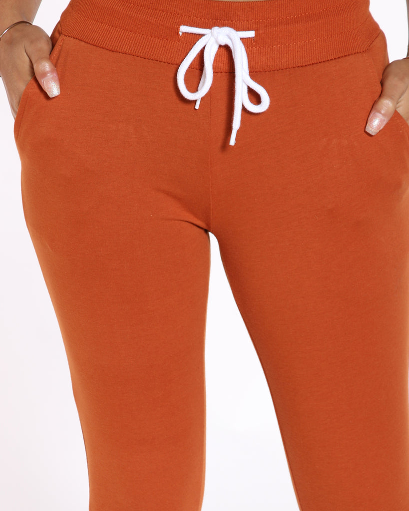 VIM VIXEN Noreen French Terry Solid Jogger - Rust - ShopVimVixen.com