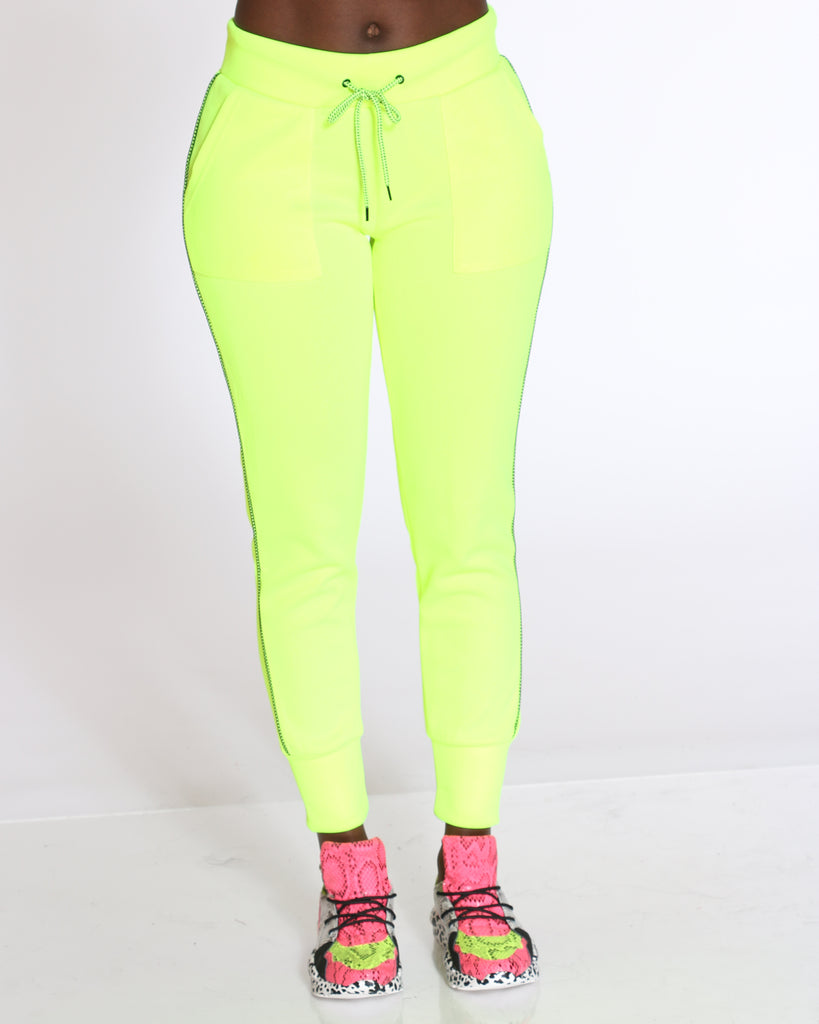 VIM VIXEN Cant Tell Me Nothing Birdseye Jogger - Neon Green - ShopVimVixen.com