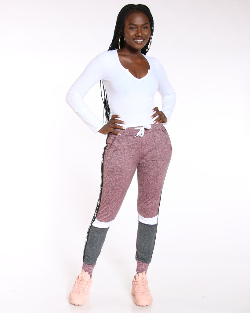 VIM VIXEN Yummy Love Side Trim Color Block Jogger - Pink - ShopVimVixen.com