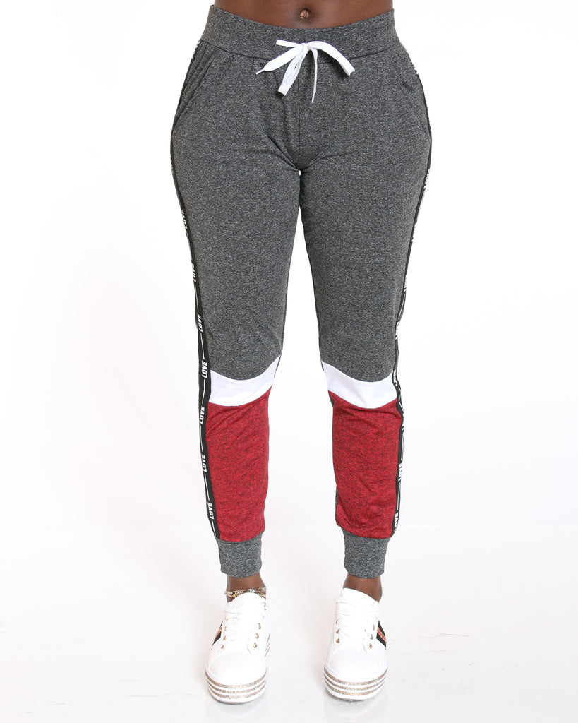 VIM VIXEN Yummy Love Side Trim Color Block Jogger - Charcoal - ShopVimVixen.com