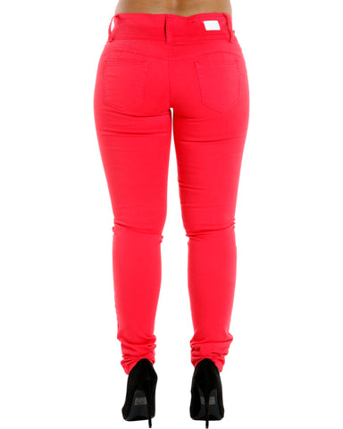 Debbie Three Button Stretch Pants - Coral