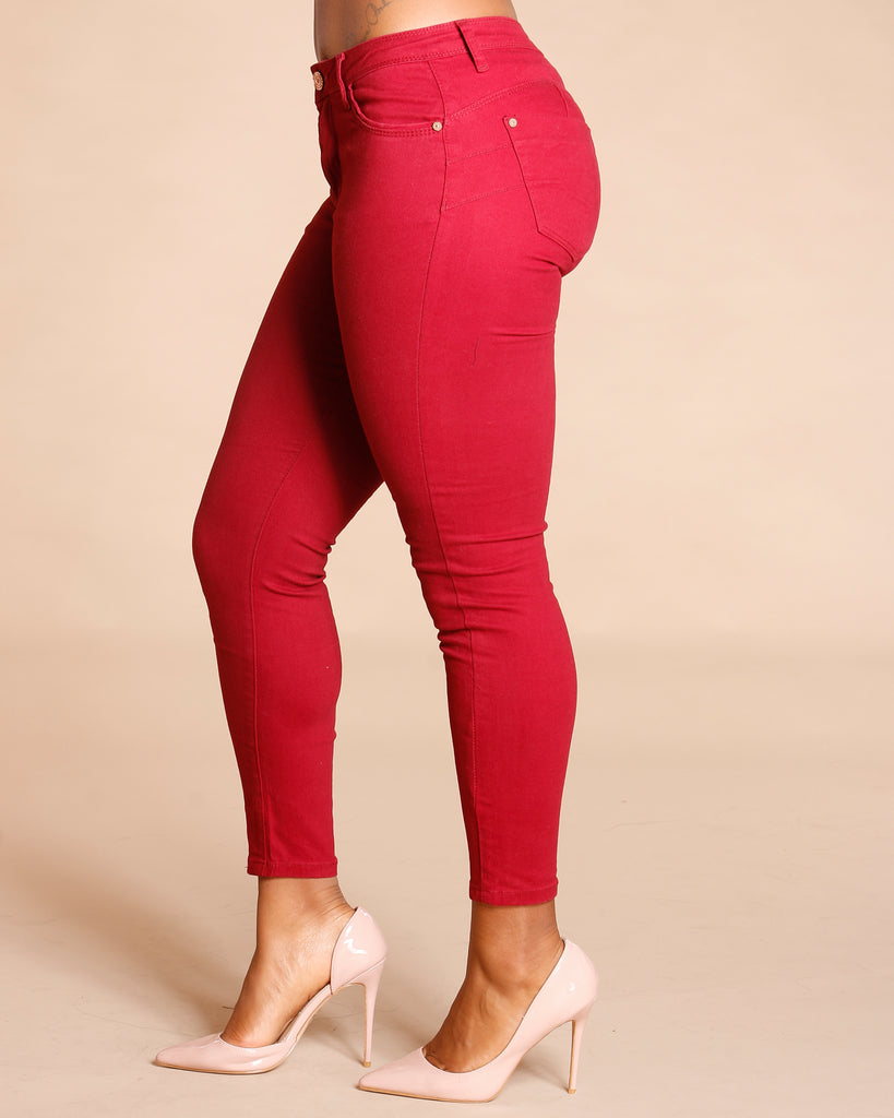 Alys Fashion Twill Pant - Burgundy