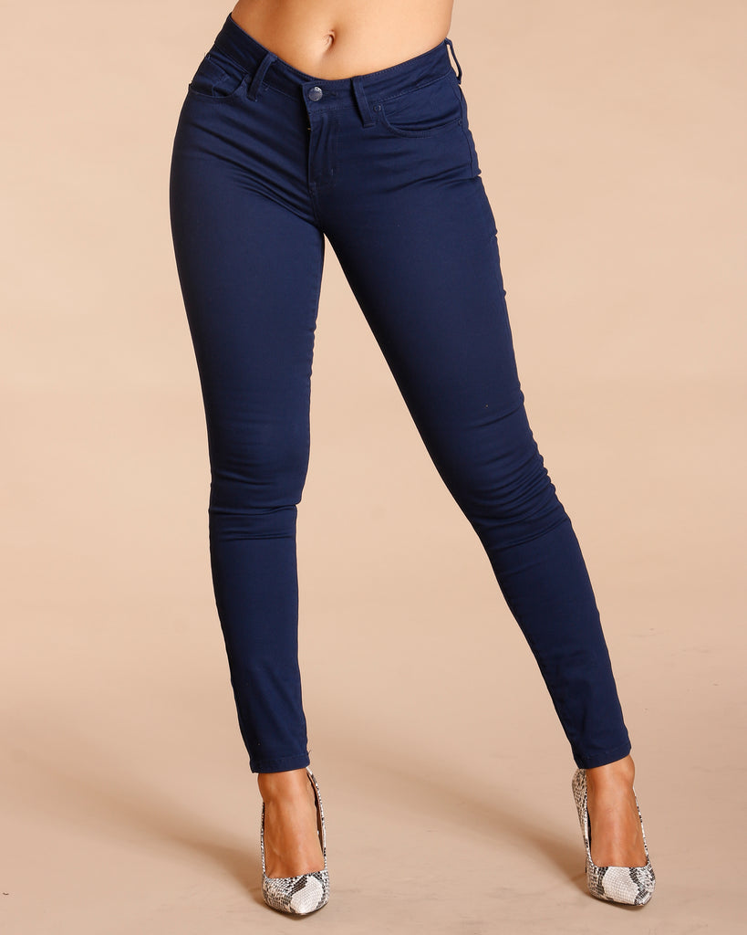 THREE BUTTON PUSH UP PANTS - NAVY
