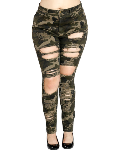 CAMO RIPPED JEANS - PLUS SIZE