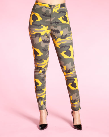 HIGH WAIST SKINNY CAMO PANTS