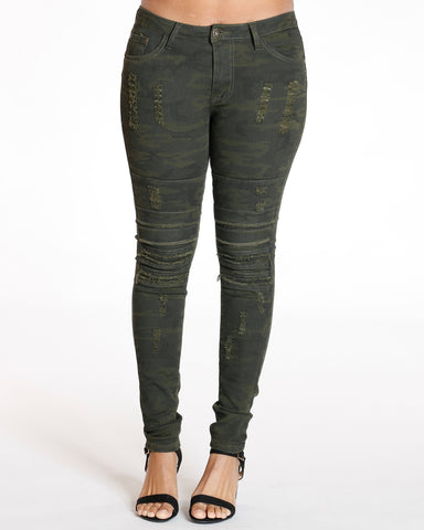 Ripped & Knee Trim Panel Skinny Jean