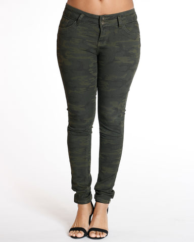 Knee Pleat Skinny Jean