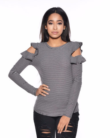 Stripe Cold Shoulder Long Sleeve Top (Available in 2 colors)