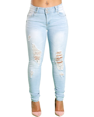 CRYSTAL RIPPED JEANS