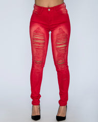 VIM VIXEN Lexie Ripped Jeans - Red - ShopVimVixen.com