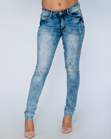 JESSICA RIPPED JEANS - MEDIUM BLUE