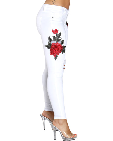 Snow White Jeans With Rose Embroidery
