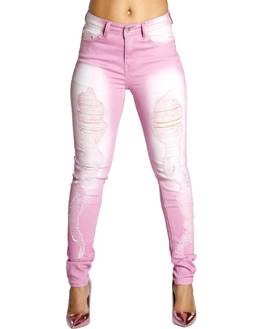 Ripped Skinny Jeans - Pink