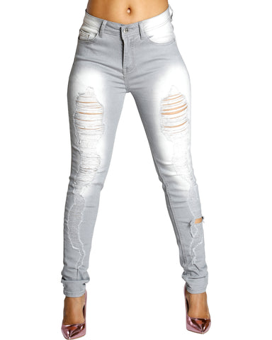 Ripped Skinny Jeans - Grey