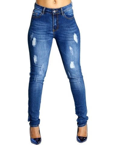 Soul Mate Ripped Wash Jeans - Medium Blue