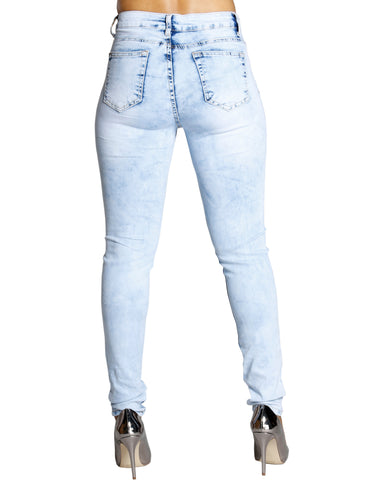 Soul Mate Ripped Wash Jeans - Light Blue