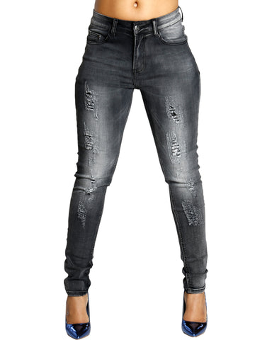 Soul Mate Ripped Wash Jeans - Black