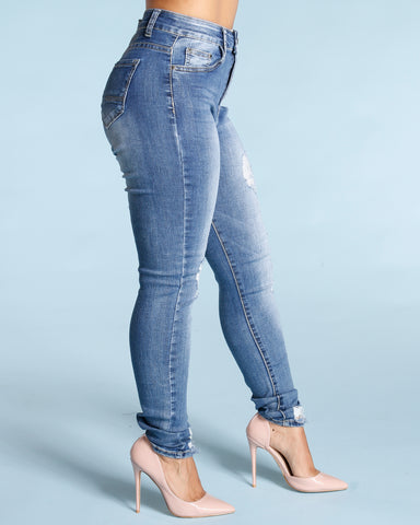 Ripped And Scratches Jeans - Medium Blue