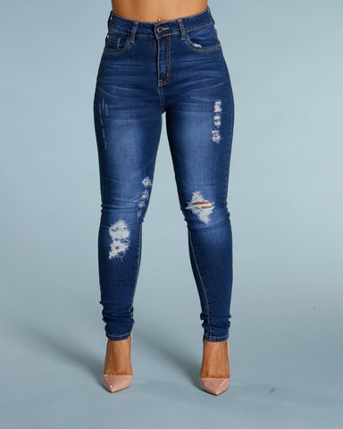 Ripped And Scratches Jeans - Dark Blue