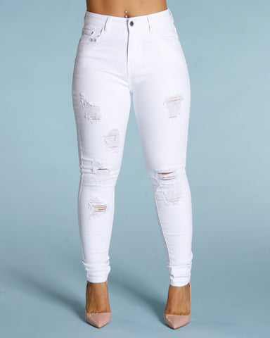Ripped And Scratches Jeans - White