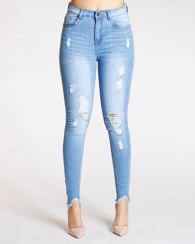 Ripped Fray Bottom Jeans - Light Blue