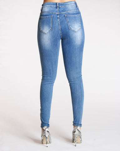 Ripped Jeans - Medium Blue