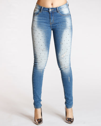 ALL OVER RIPS AND STUDS JEANS - MEDIUM BLUE