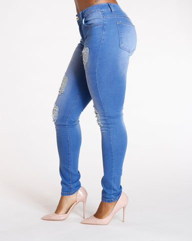 RIPPED JEANS - BLUE