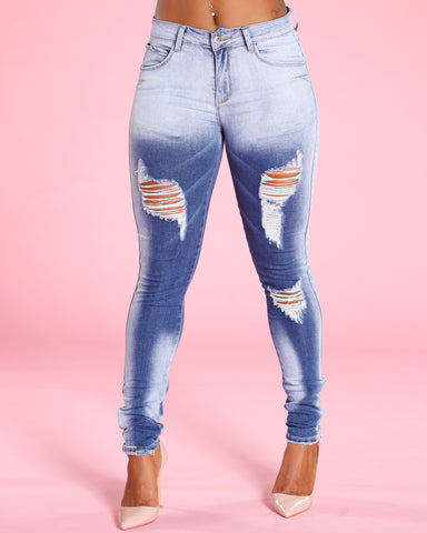 Ripped And Wash Jeans - Blue