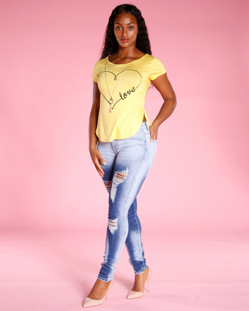 VIM VIXEN Ripped And Wash Jeans - Blue - ShopVimVixen.com