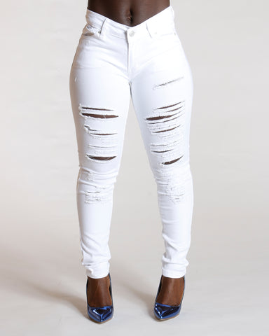 RIPPED ONE BUTTON JEANS - WHITE
