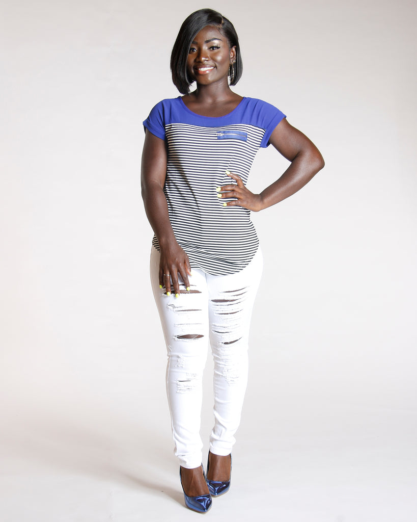 VIM VIXEN Ripped One Button Jean - White - ShopVimVixen.com