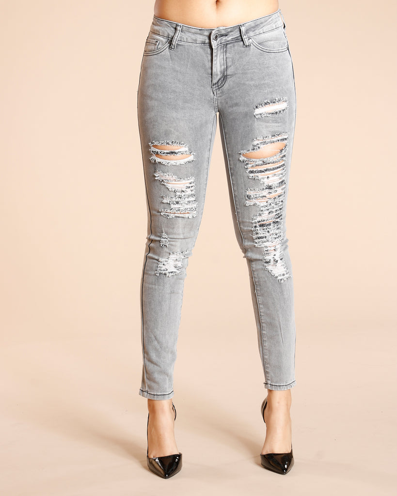 VIM VIXEN Ripped One Button Jeans - Grey - ShopVimVixen.com