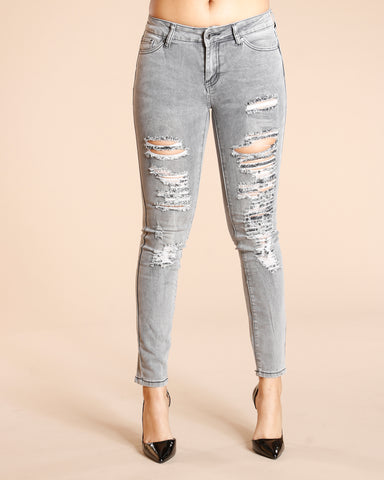 Ripped One Button Jeans - Grey