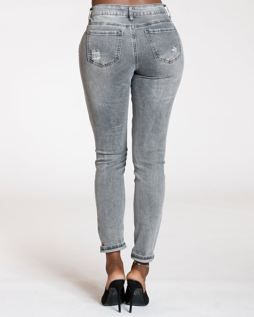 Ripped Cuff Jeans - Grey