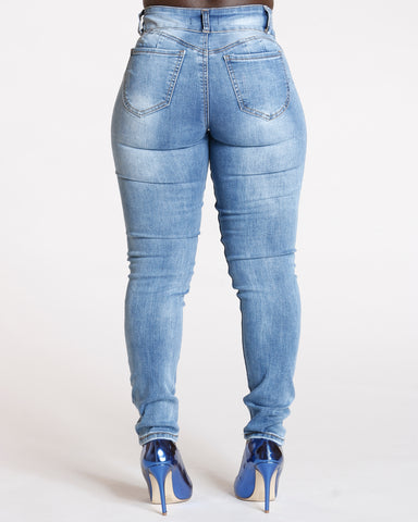 Two Button Ripped Jeans - Medium Blue
