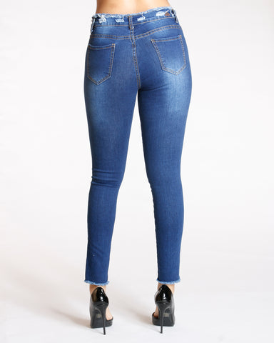 Open Hem Ripped Jeans - Dark Blue