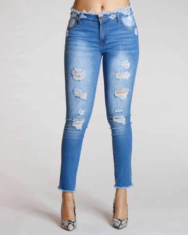 Open Hem Ripped Jeans - Medium Blue