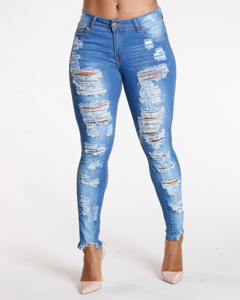 All Over Ripped Jeans - Medium Blue