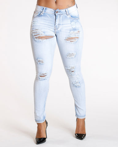RIPPED ICE WASH JEANS
