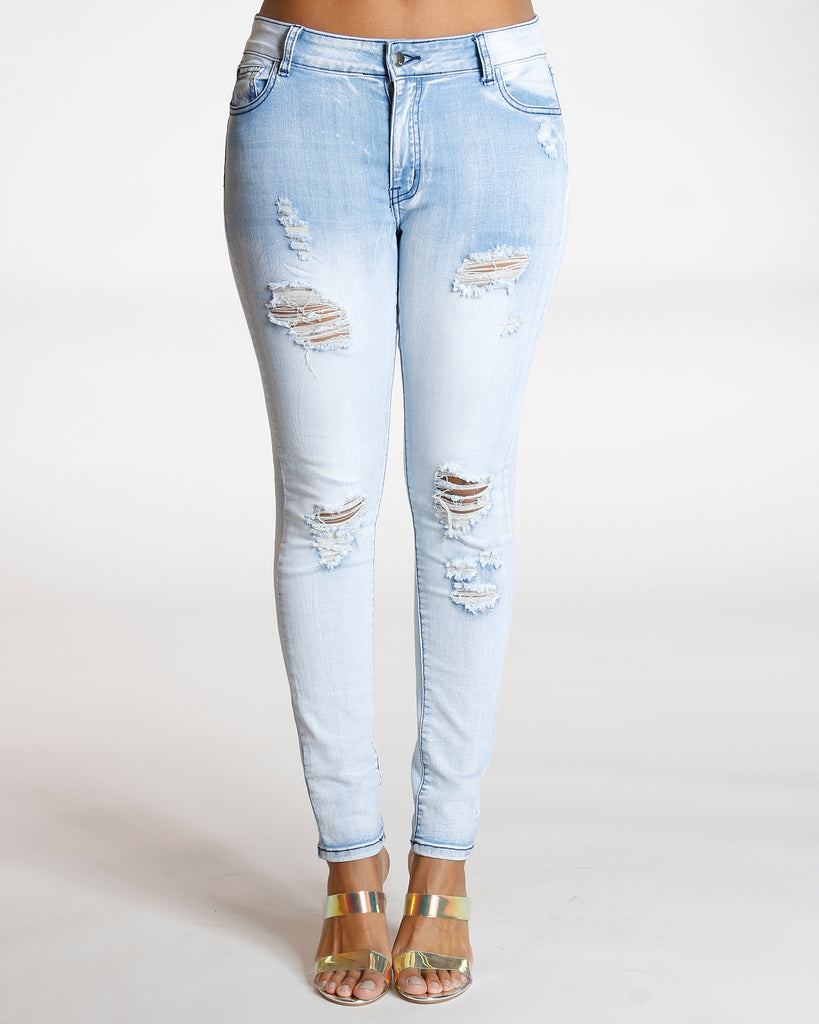 Ripped Navy Stitching Jeans